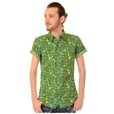 Coraggioso Cactus Verde Stampa Camicia Per Esecuzione E Volare Retrò Tropicale Estate S Bnwt/nuovo- Ultimi Design Diversificati