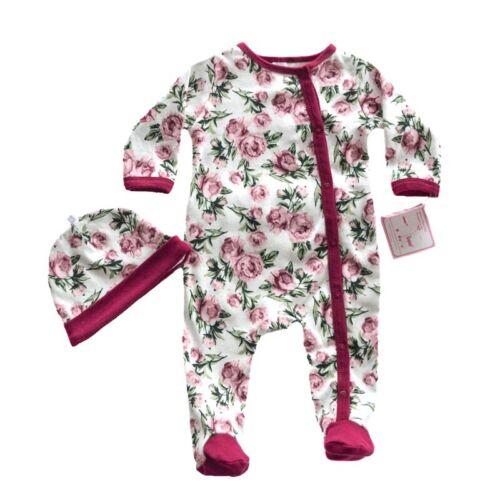 Neuf Occasion//Parti Bébé Filles Floral Sleepsuit /& hat set Cadeau.