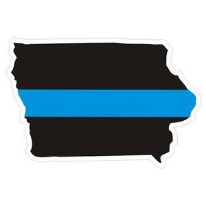 Iowa-IA-State-Thin-Blue-Line-Police-Sticker-Decal-180-Made-in-U-S-A