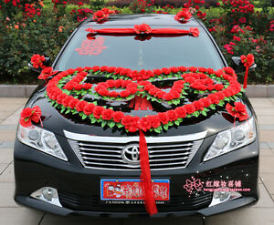 wedding car decorations car flowers heart shape bridal car ...