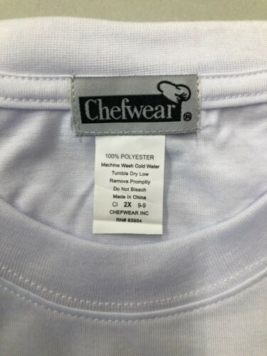 CHEF WEAR 1385-40 CHEF DRY WICKING TEE WHITE RESTURANT KITCHEN COOK SIZE 2X
