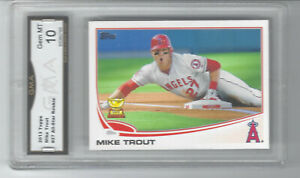 2013 MIKE TROUT TOPPS ALL STAR ROOKIE CUP SLIDING #27 GRADED GMA GEM MINT 10