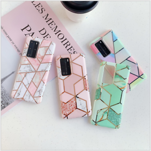 Geometric-Marble-Case-for-Samsung-S20-A51-A71-A20e-A41-A91-A70-Soft-Pastel-Cover