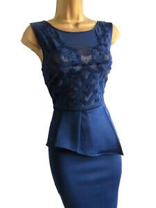 Lipsy Michelle Keegan Schößchen Kleid 8 Blau Navy Mesh ...