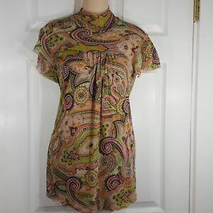SWEET-PEA-by-Stacy-Frati-Sz-Small-Short-Sleeve-Mock-Neck-Nylon-Womens-Shirt-Top