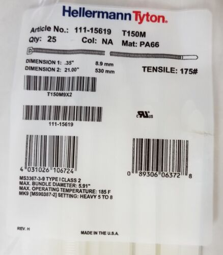 Cable Ties Heavy Duty 21inch 175lb HellermannTyton Natural T150M9X2 NEW 125pcs