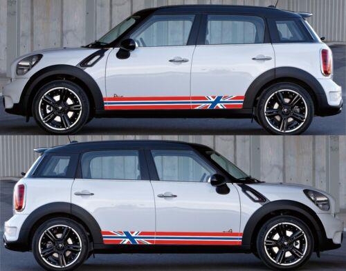 For Mini Cooper Type S Flag Side Stripe Vinyl Decal Sticker Graphics Kit