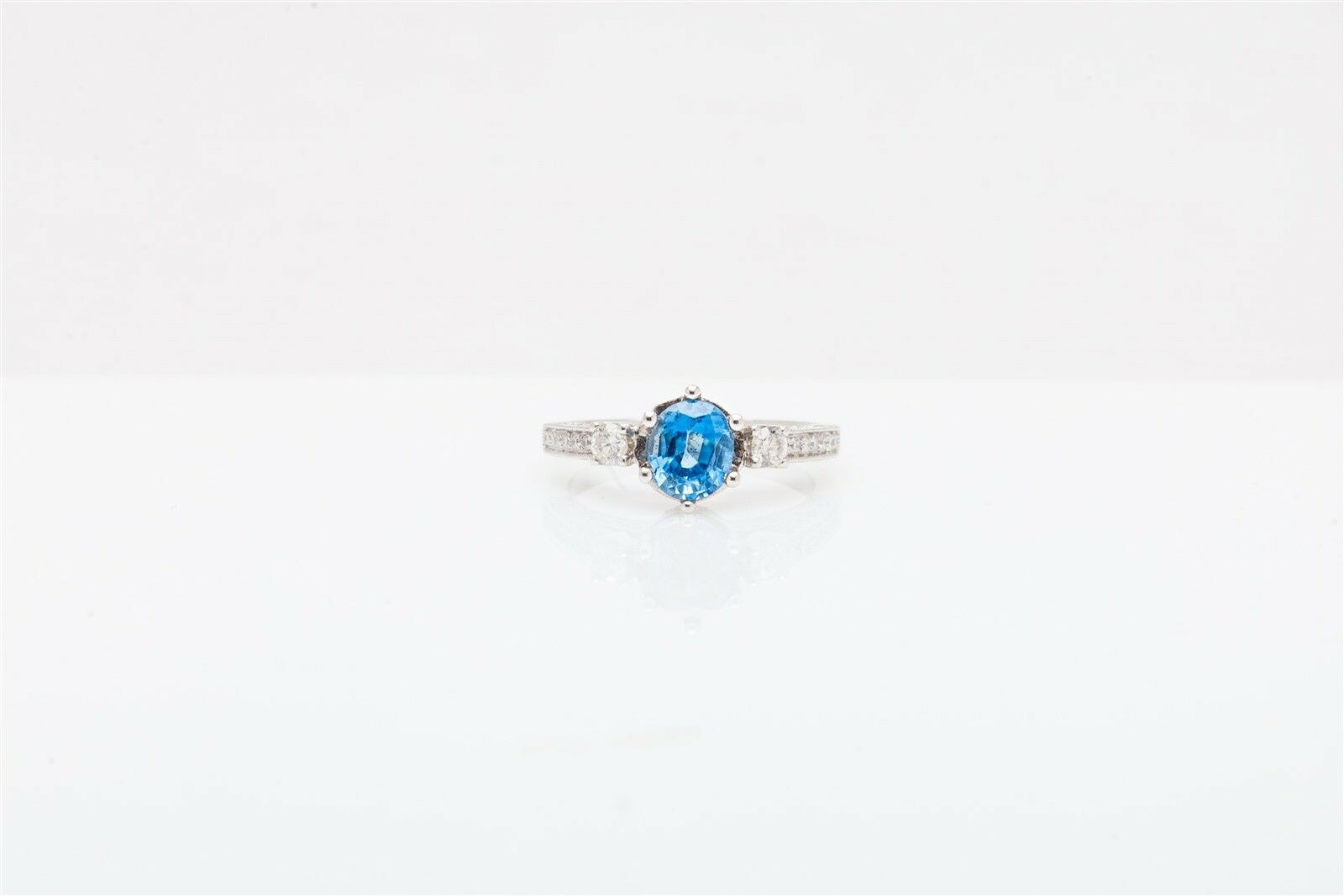 14kt White Gold 1.95ct Natural African Blue Topaz & Egl Certified Diamond Ring Fine Jewelry Jewelry & Watches