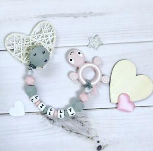 Schnullerkette mit Namen und Greifring im Set Fee Baby Mädchen grau rosa Holz