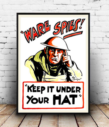 Poster reproduction. Vintage wartime propaganda Keep it under your hat