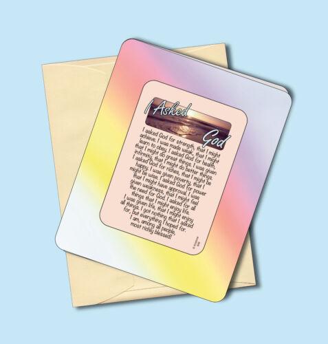 """sku# 646 /""""I Asked God For Strength/"""" Inspirational Keepsake Enclosed Verse Card"""