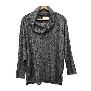 NWT New Directions Knit Tunic Top Women's M Gray Black Dolman Sleeve Cowl Neck