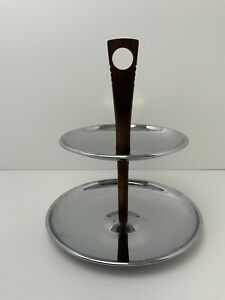 Vintage-MCM-Party-Tray-2-Tier-Serving-Chrome-w-Wood-Handle-9-High-Mid-Century