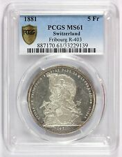 1881 Switzerland 5 Francs Silver Coin Fribourg Shooting Medal R-403 PCGS MS 61