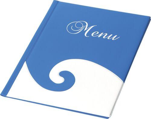BLUE WAVE Speisekarte Menükarte DIN A4 zweifarbig 12 Seiten 6 Folien
