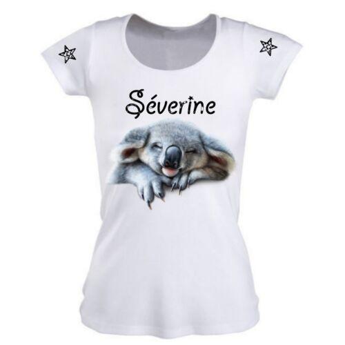Tee shirt femme Koala personnalisé avec prénom