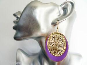Gorgeous-Lilac-Enamel-Look-Gold-Tone-Oval-Filigree-Design-Dangle-Drop-Earrings