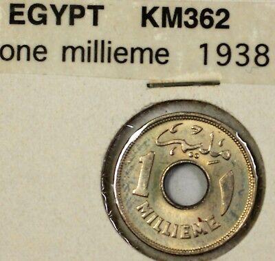 1938 Epypt 1 Millieme Brilliant Uncirculated Coin