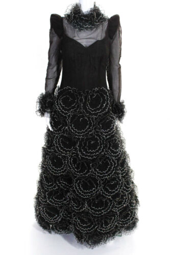 Arnold Scaasi Womens Vintage Couture Crystal Flowe