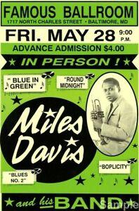 Vintage Jazz Music Concert Poster Art Print Miles Davis /& His Band