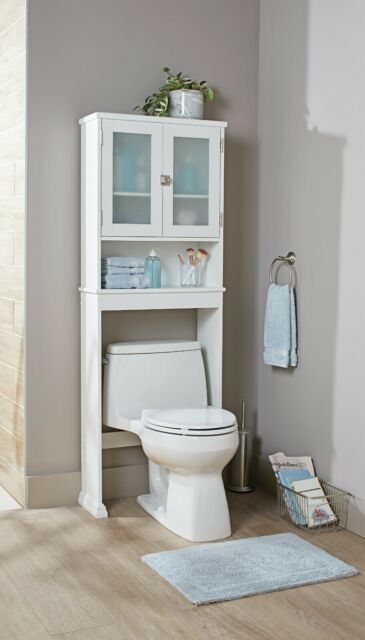White Bathroom Storage Cabinet Over The Toilet Spacesaver Organizer Home Shelves