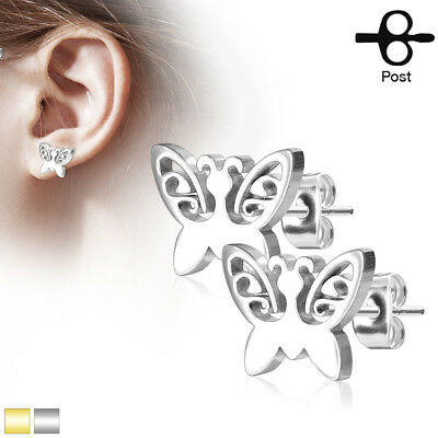 Pair of Gold Ion Plated Butterfly With Gem 316L Surgical Steel Stud Earrings