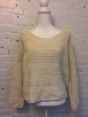 Vince Chunky Knit Cropped Sweater Scoop Neck Ivory