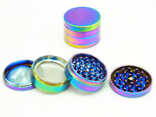 50mm Rainbow Stainless Steel Spice Herb Grinder Cylinder 4 Piece Tobacco Mill