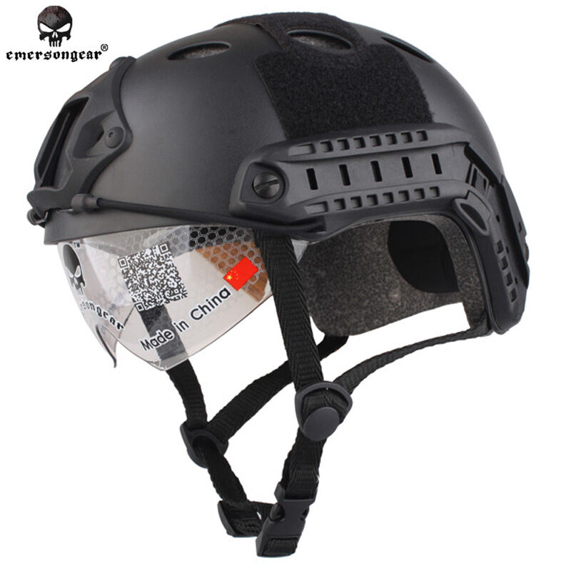 Military Airsoft Combat Helmet EMERSON Tactical FAST Helmet PJ  Type with Goggle  lightning delivery