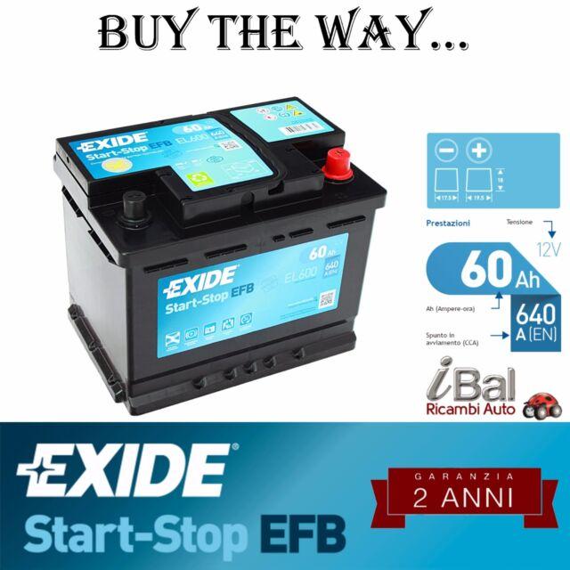 BATTERIA EXIDE START-STOP EFB - EL600 - 60AH - 640EN - ALFA ROMEO MITO 1.3 JTDM
