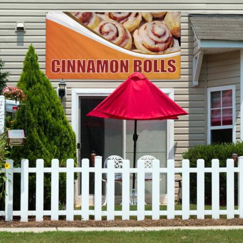 Vinyl Banner Sign Cinnamon Rolls #1 Outdoor Marketing Advertising orange