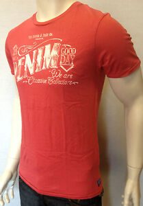 Scotch-amp-Soda-Mens-Vintage-Red-T-Shirt-Denim-Muscle-Fit-White-Print-Logo-Sale