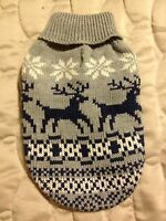 Caribou Creek Dog Sweater - Xs - Gray With Reindeer - East Side Collection -