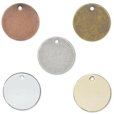 10 Flat Round Circle Blank Coin Engravable Stamping Charms Plated Brass Metal
