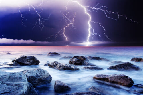STUNNING LIGHTNING STRIKE SEASCAPE CANVAS #336 QUALITY CANVAS PICTURE WALL ART