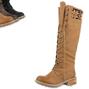 b4c1a8df8b49a Details zu Damen Stiefel Schnürstiefel Langschaft Boots Strick 77955 Top