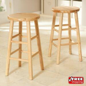 Set Of 2 Wood Counter Stools Bar Stools Dining Kitchen Round Seat