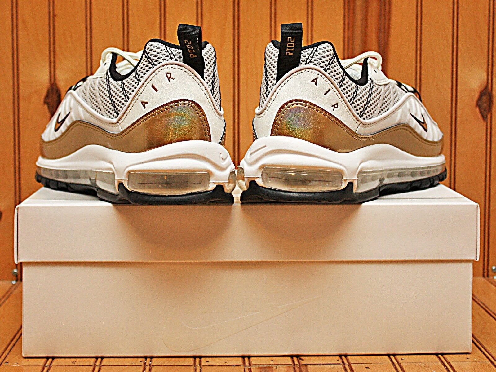 2018 Nike Air Max 98 UK Size 12 Hyper Local QS White Gold Aj6302 100