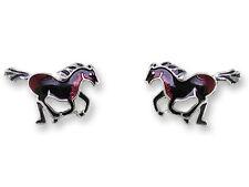Zarah Zarlite STALLION HORSE Post EARRINGS Sterling Silver Plated Studs - Boxed