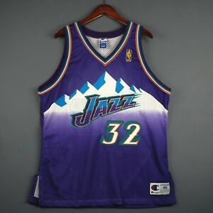 e2fb267ab168 100% Authentic Karl Malone Vintage Champion Jazz NBA  50th Jersey ...