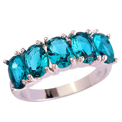 Newly Green Topaz Gemstones Silver Women's Ring Size 6 7 8 9 10 Free Shipping