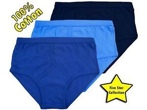 3-Mens-Y-Fronts-100-Cotton-Interlock-Briefs-Underwear-Blue-S-M-L-XL-XXL