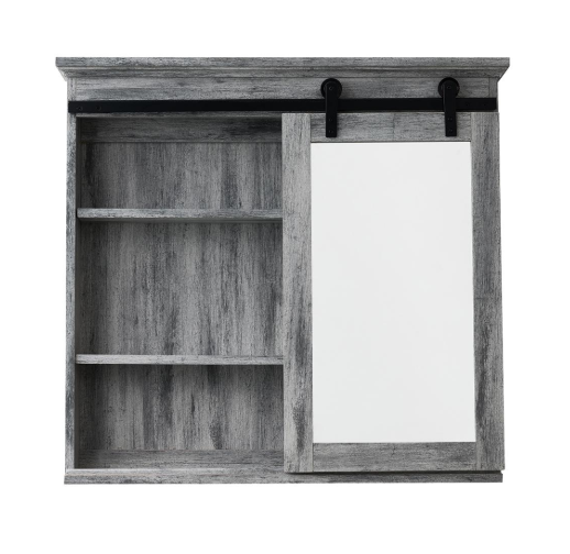 Medicine Cabinet Barn Door Bathroom Adjustable Shelves Storage Sliding Door  Grey