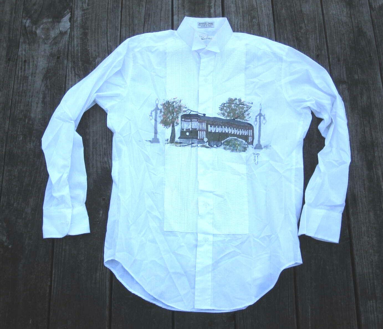 New Orleans Streetcar Hand Painted Tuxedo Shirt M Mardi Gras Louisiana