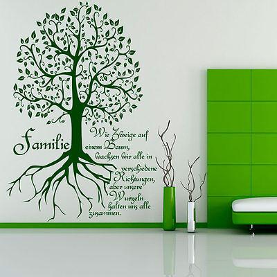 Wandtattoo Wandaufkleber Family Baum tree Familienstamm Wurzeln 296 DE EN