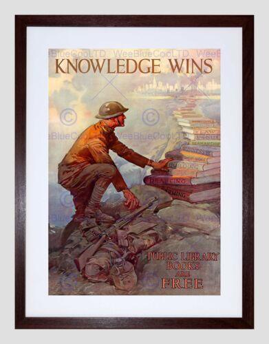 PROPAGANDA WAR WWII USA KNOWLEDGE BOOKS LIBRARY FRAMED ART PRINT MOUNT B12X7181