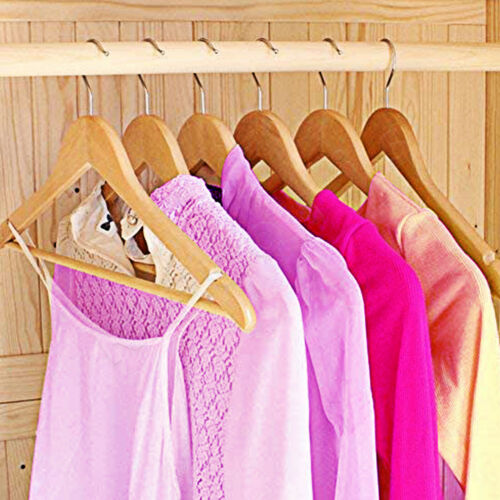 10 Strong Wooden Coat Hangers Suit Dress Garments Clothes with Round Trouser Bar