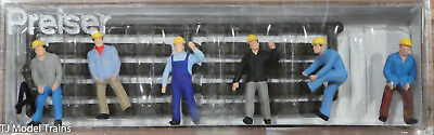 HO Preiser 10034 Railroad Track Maintenance Crew / Workers With Ties Six  Figures