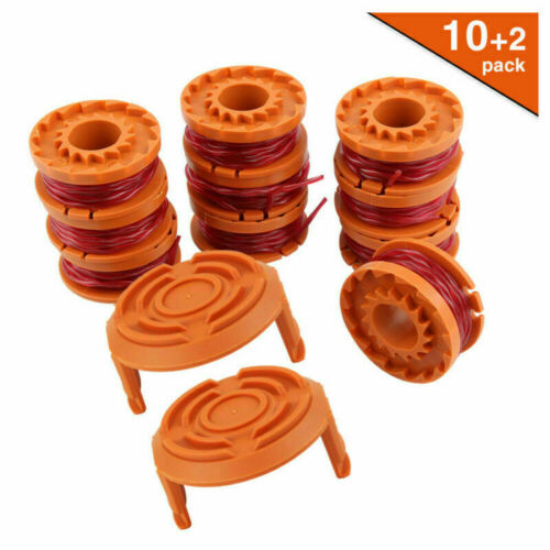 12pcs Line Spool Strimmer Head Base Cover Cap Line For Worx GT Trimmer Spool