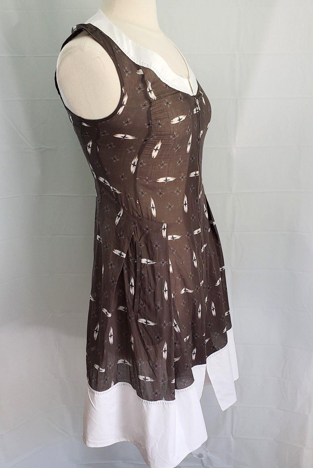 CREA CONCEPT damen Fit & Flare Dress braun Weiß 100% Cotton Größe 36 US